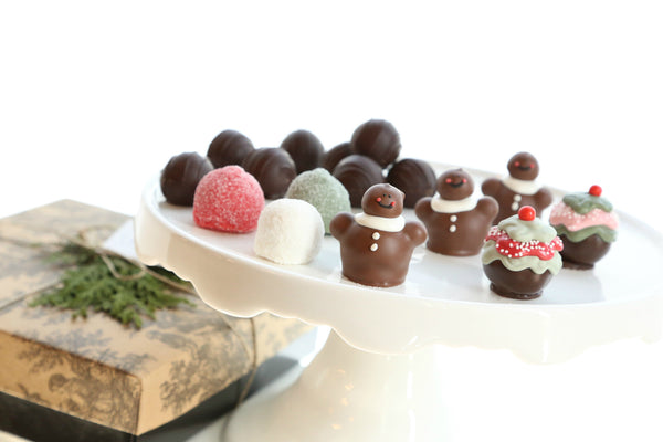 16-Piece Gingerbread Men Cordial Cherries with Chocolate Truffles