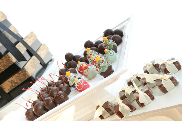 Four Tier Gift ~ Christmas Trees and Ornaments Cordial Cherries with Chocolate Truffles, Satin Fudge, and Original Cordial Cherries