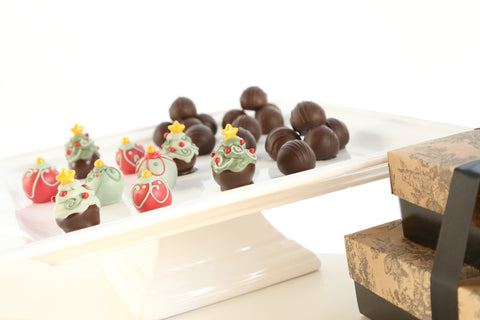 Two Tier Gift ~ Christmas Trees and Ornaments with Chocolate Truffles