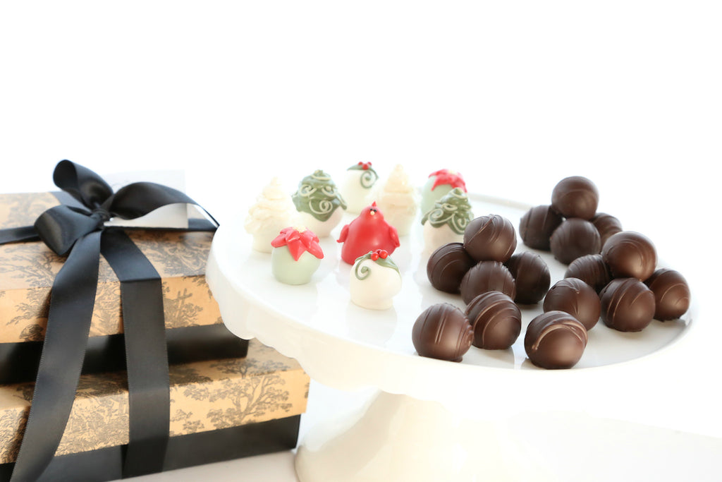 Two-Tier Gift ~ Winter Garden Cordial Cherries and Trufffles
