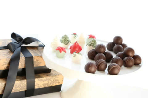 Two-Tier Gift ~ Christmas Garden Cordial Cherries and Trufffles