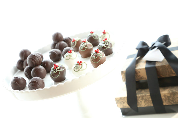 Two Tier Gift ~ Holly Berries Cordial Cherries and Chocolate Truffles