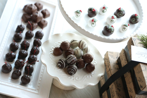 Chocolate Truffles ~ 4-Tier Gift Tower ~ Holly Berries