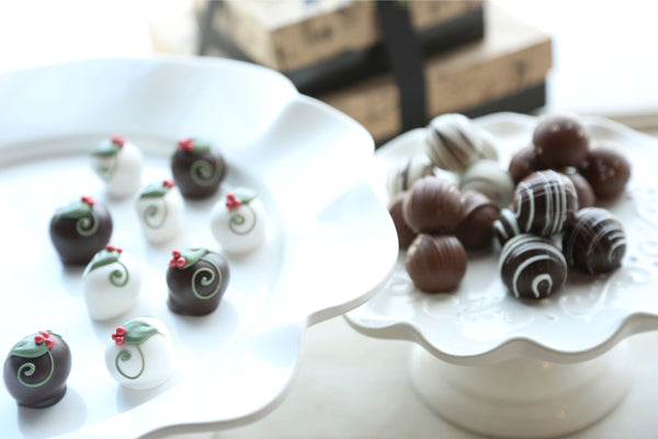 Chocolate Truffles ~ 2-Tier Gift Tower ~ Holly Berries