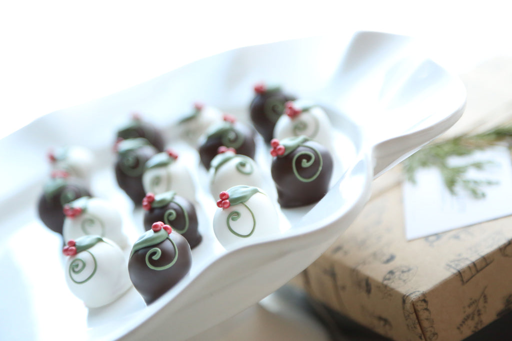 Chocolate Truffles ~ 16-Piece Gift ~ Holly Berries