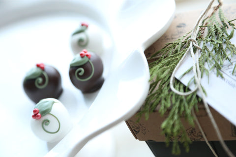 Chocolate Truffles ~ 4-Piece Gift ~ Holly Berries