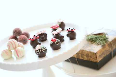 16-Piece Valentine's Day Flowers and Love Bugs Cordial Cherries and Chocolate Truffles