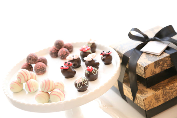 Two-Tier Gift ~ Valentine's Day Flowers and Love Bugs Cordial Cherries and Chocolate Truffles