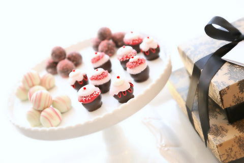 Two-Tier Gift ~ Valentine's Day Cupcake Cordial Cherries and Chocolate Truffles