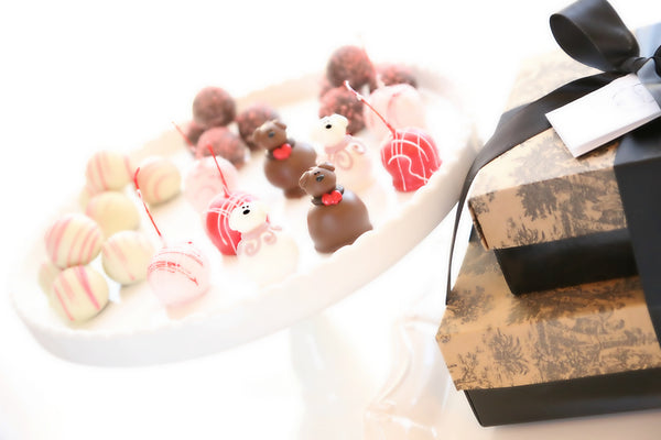 Two-Tier Gift ~ Valentine's Day Puppy Love Cordial Cherries and Truffles