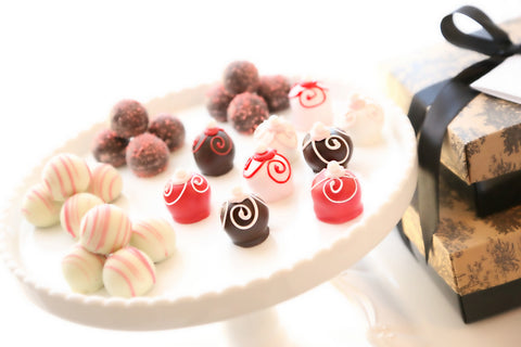 Two-Tier Gift ~ Valentine's Day Swirls Cordial Cherries and Chocolate Truffles
