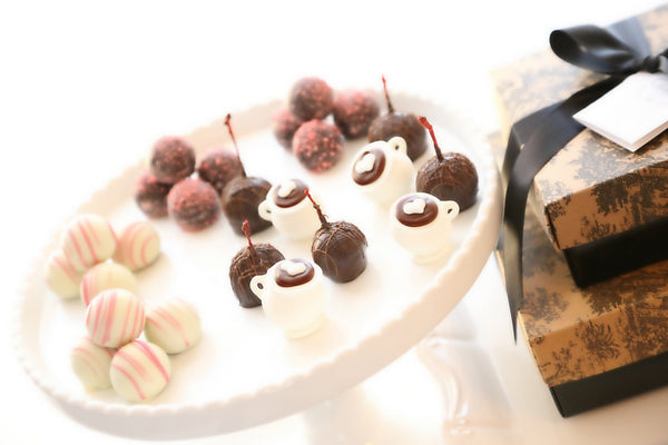 Two-Tier Gift ~ Valentine's Day Cups of Love Cordial Cherries, Chocolate Satin Fudge, Original Cordial Cherries and Truffles