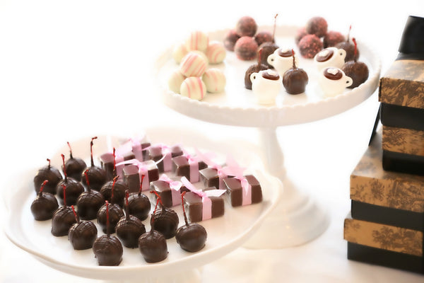Four-Tier Gift ~ Valentine's Day Cups of Love Cordial Cherries, Chocolate Satin Fudge, Original Cordial Cherries and Truffles