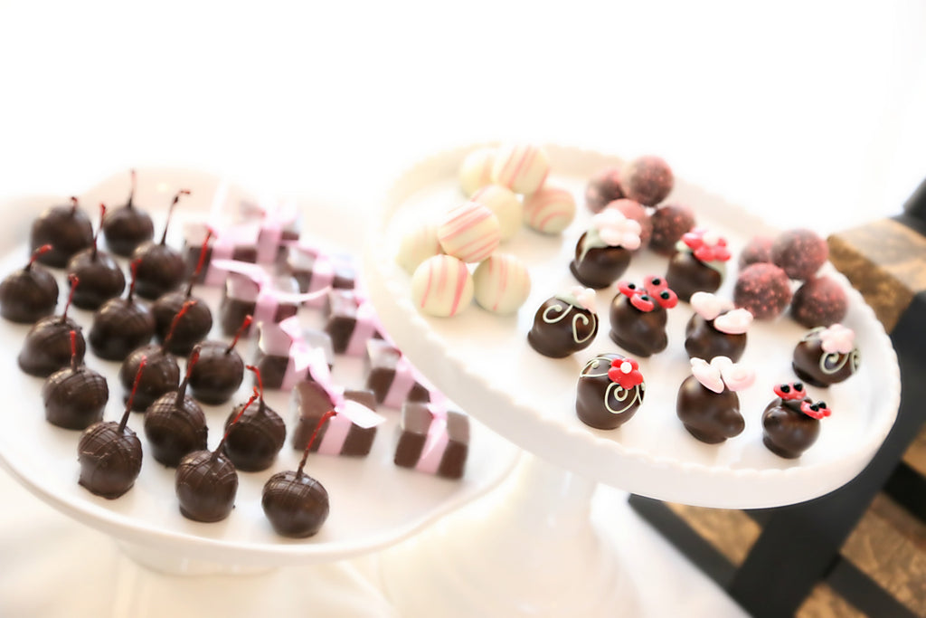 Four-Tier Gift ~ Valentine's Day Flowers and Love Bugs Cordial Cherries, Chocolate Satin Fudge, Original Cordial Cherries and Chocolate Truffles