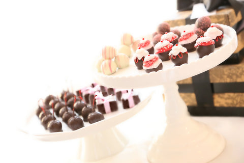 Four-Tier Gift ~ Valentine's Day Cupcake Cordial Cherries, Chocolate Truffles, Chocolate Satin Fudge, and Original Cordial Cherries