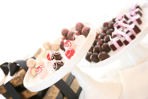 Four-Tier Gift ~ Valentine's Day Swirls Cordial Cherries, Chocolate Satin Fudge, Original Cordial Cherries and Chocolate Truffles