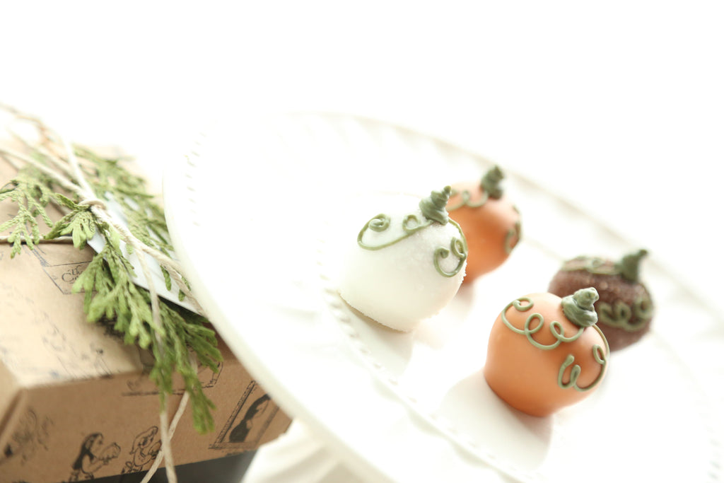 Chocolate Truffles ~ 4-Piece Gift ~ Harvest Pumpkins