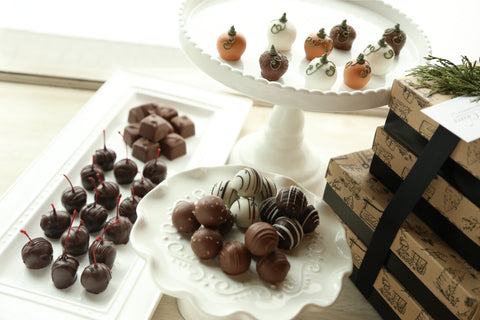 Cordial Cherries ~ 4-Tier Gift Tower ~ Harvest Pumpkins