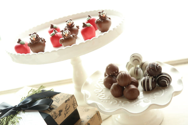 Chocolate Truffles ~ 2-Tier Gift Tower ~ Apples and Owls