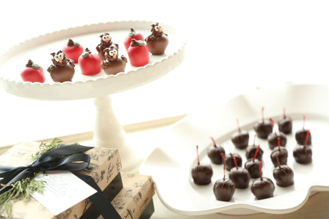 Cordial Cherries ~ 2-Tier Gift Tower ~ Apples and Owls