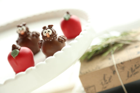 Cordial Cherries ~ 4-Piece Gift ~ Apples and Owls