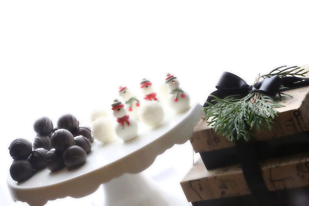 Chocolate Christmas Snowmen Truffles 2-Tier Gift