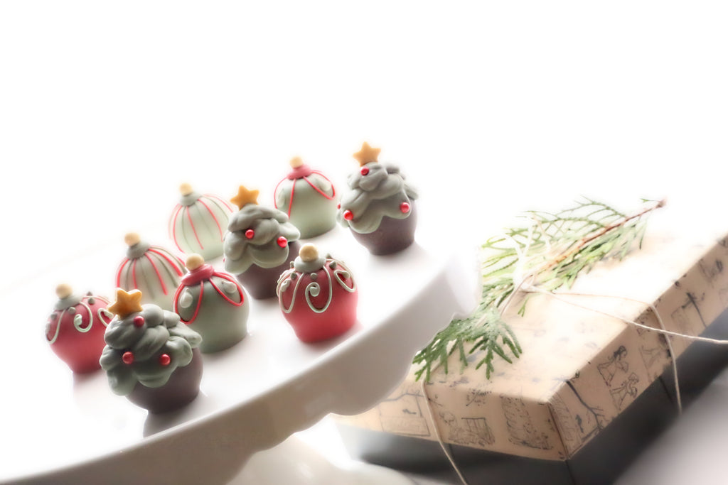 Chocolate Truffles ~ 9-Piece Gift ~ Christmas Trees and Ornaments