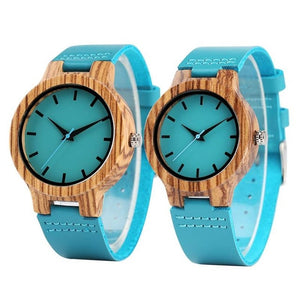 Luxury Royal Blue Wood Watch Top Quartz Wristwatch 100% Natural Bamboo Clock Casual Leather Valentine's Day Gifts