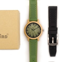Bamboo Wooden Watch Men Quartz Watch with Green Silicone Strap Extra Band Men's Gift