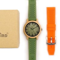 Load image into Gallery viewer, Bamboo Wooden Watch Men Quartz Watch with Green Silicone Strap Extra Band Men's Gift
