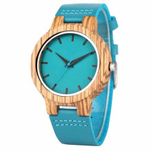 Load image into Gallery viewer, Luxury Royal Blue Wood Watch Top Quartz Wristwatch 100% Natural Bamboo Clock Casual Leather Valentine's Day Gifts