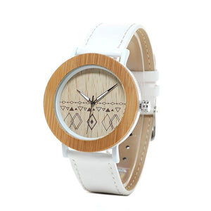 Wood Watch Men Bamboo - Metal Ladies Wristwatch with Leather Band Silicone Strap Customized Logo