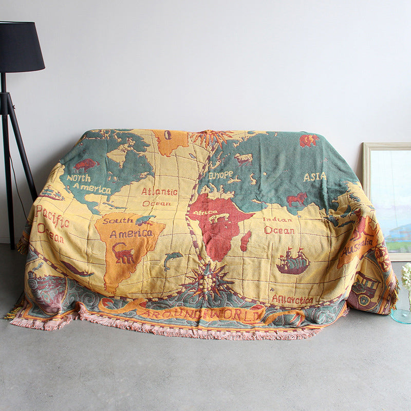 Retro European map sofa blanket