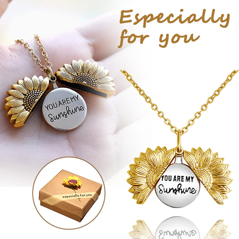 """ You Are My Sunshine "" -- Sunflower Locket Necklace"