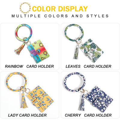 Fashion Wristlet Keyring Bangle Keychain Bracelet with Card/Coin Purse