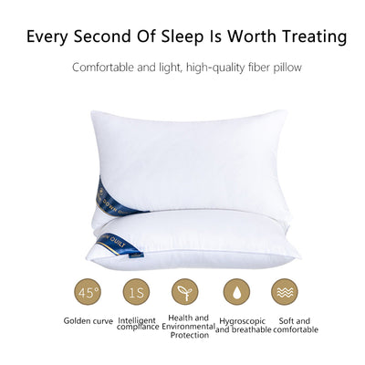 Bed Pillows for Sleeping 2 Pack with 100% Soft and Breathable Cotton Cover Neck Pillows
