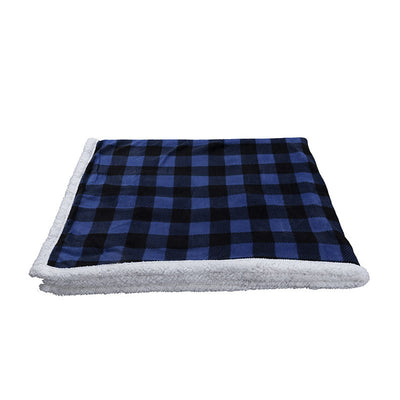 Sherpa Plaid Fleece Throw Blanket