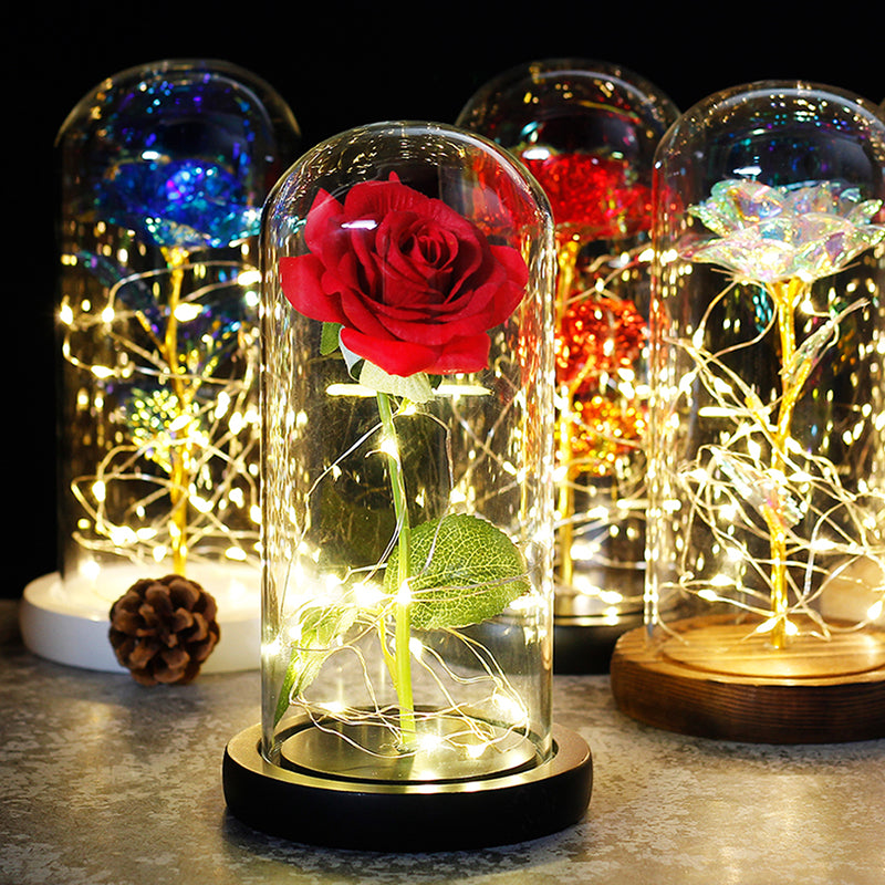 Rose In Glass Dome Forever Rose Special Romantic Gift