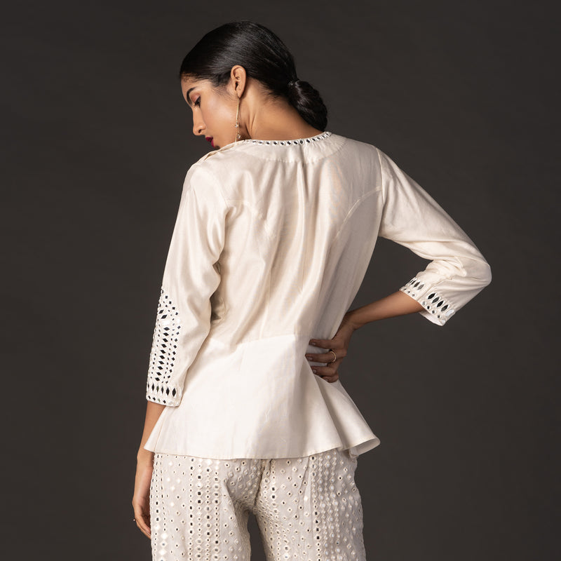 Chanderi Mirrorwork Peplum Top
