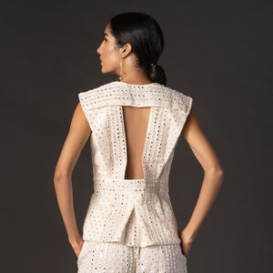 White Mirror Fabric Backless Jacket with Mirror Tassles