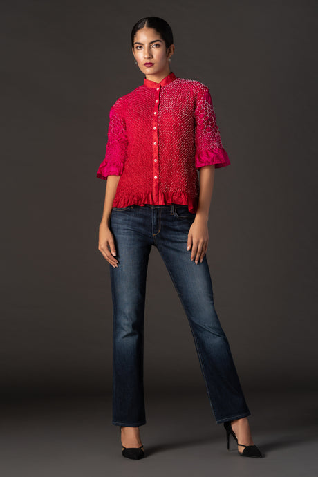 Raidana Crushed  Bandhani Shirt in Silk