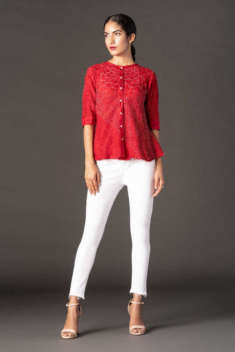 Raidana Crushed Bandhani Kediya Shirt in Silk