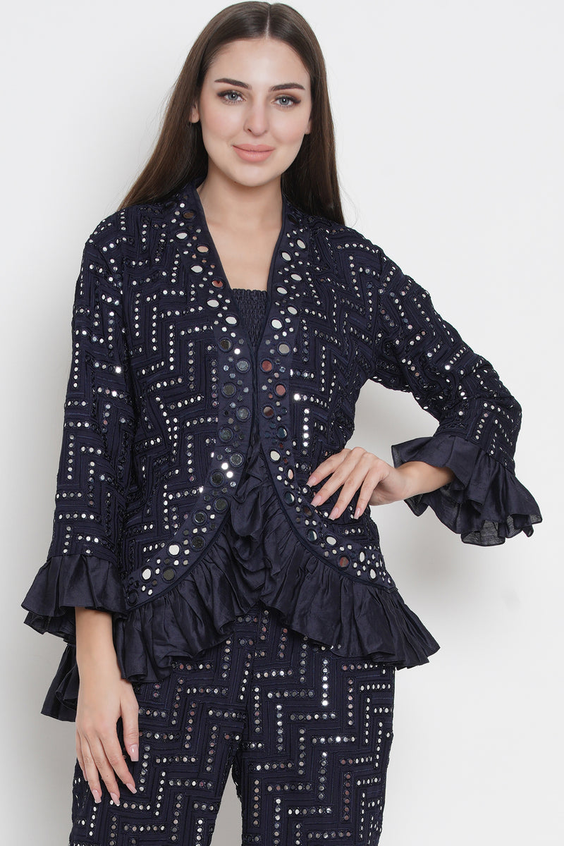 Mirror work jacket with frill sleeves and ghera