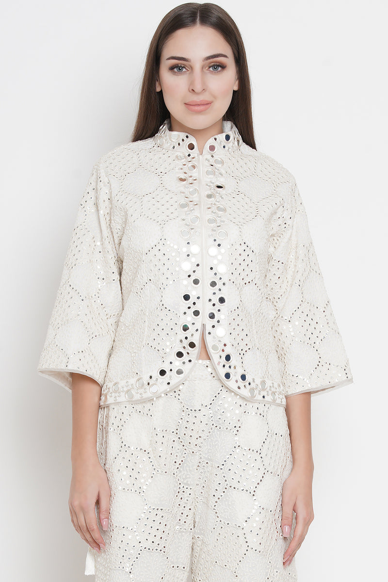 Mirror work short asym jacket with flared sleeves