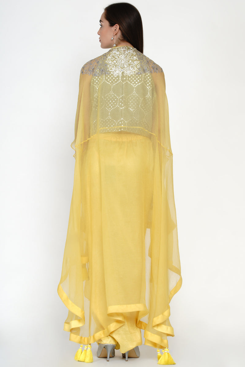 Embellished Organza Cape Set with Hi-Neck Mirrowork Top