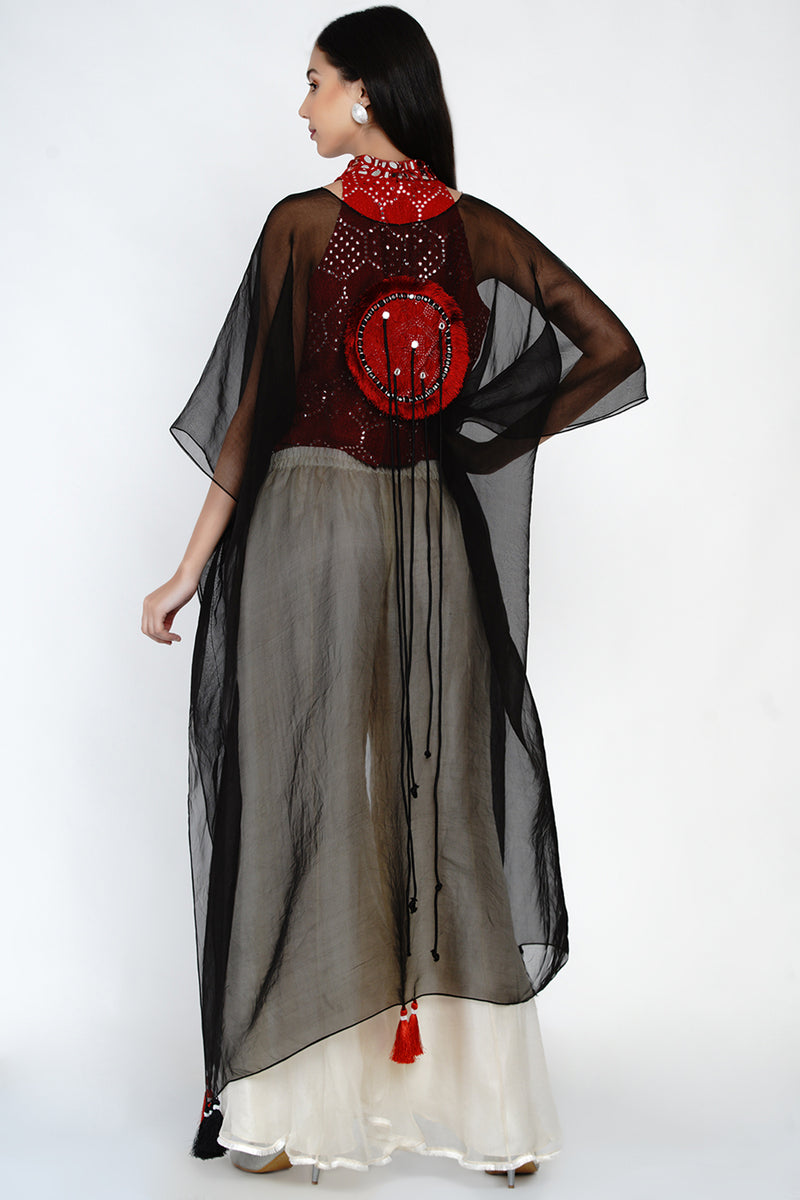 Embellished Organza Cape Set with Hand Embroided Hi-Neck Mirrowork Top