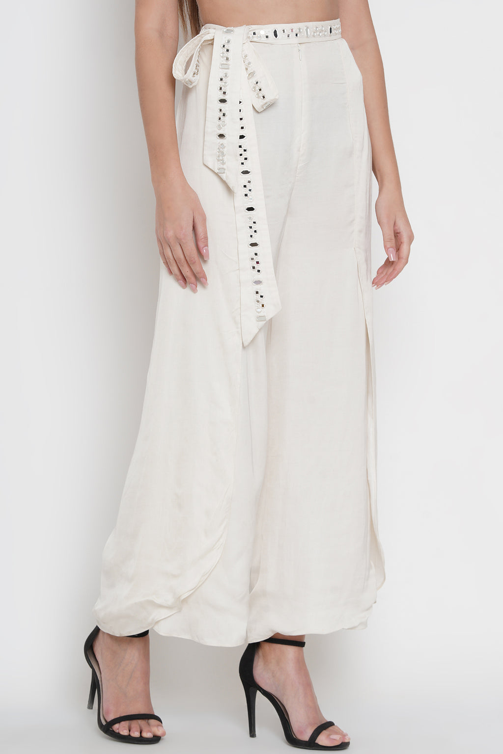 Slit Pants With Mirrorwork Belt