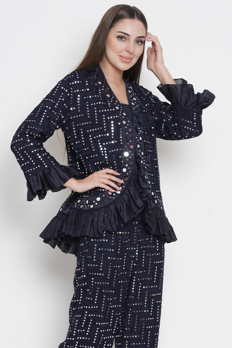 Mirror work jacket with frills in sleeves and ghera