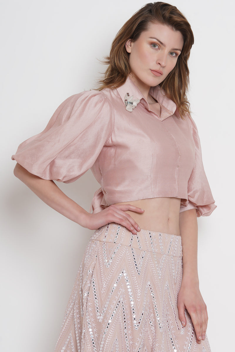 Balloon sleeve collar top with long belt
