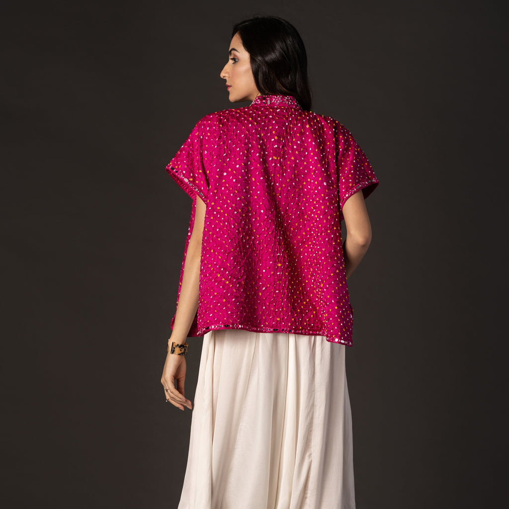 Bandhani Shirt Cape with Bead & Mirrorwork